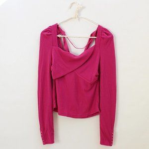 NWT Free People Open Back Bow Long Sleeve Top